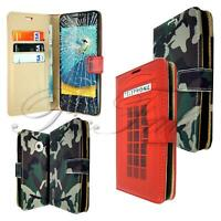 For Vodafone Smart Mini 7 New Black Leather Wallet Phone Case + Tempered Glass