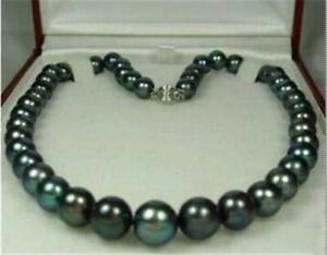 """Charming 8-9mm Natural Tahitian Black Pearl Necklace 18"""" AAA"""