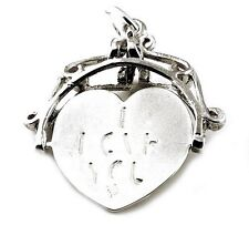 STERLING SILVER LARGE I LOVE YOU SPINNER FOB CHARM
