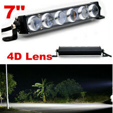 Single Row 7inch 60W Led Light Bar Slim Offroad SPOT Driving 4WD Boat SUV 12V