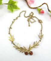 Vintage Rolled Gold Leaves & Berries Necklace with Amber Glass - Laurel?