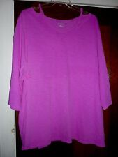 NWT Catherines 3X Purple Cotton Knit Open ShoulderTop Elbow Sleeve