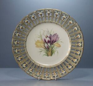 """Antique MINTON Reticulated Botanical Crocus Dessert Plate, 9.25 """"  c.1840."""
