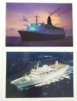 Cunard Queen Elizabeth 2 And P&O Cruises Victoria Unused Colour Postcards -
