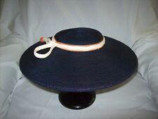 Vintage Rosalyn Navy Blue Straw Platter Hat
