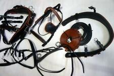 "Quality Leather Black Show Driving Training XL Horse Harness +5"" Half Cheek Bit!"