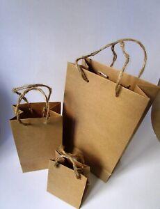 Natural brown rustic paper bags.Natural handles . PK. of 10 bags