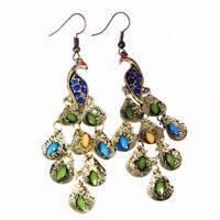 Women Vintage Blue Rhinestone Peacock-Pattern Teardrop Tail Dangle Earrings