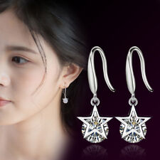 925 Sterling Silver Dazzling Crystal Star Earrings Hook For Fashion Women Party