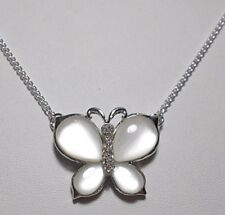 Silver 35mm Butterfly necklace, cats eye, - 18'' chain