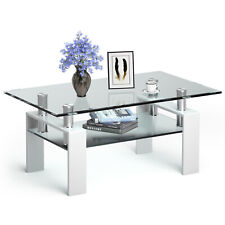Costway Rectangle Glass Coffee Table Metal Legs End Table Livingroom White