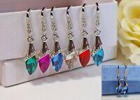 Handmade Rhinestone Diamante Drop Earrings 925 Silver Wires