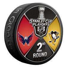 PITTSBURGH PENGUINS vs WASHINGTON CAPITALS 2018 Playoffs NHL DUELING LOGO PUCK