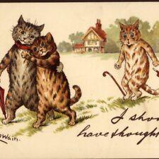 "NEAR MINT! LOUIS WAIN...ROMANTIC CATS SURPRISE,TUCK ""WRITE AWAY"",CHROMO POSTCARD"