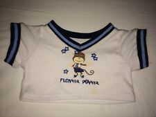 Build a Bear White 'Flower Power' Monkey Top Navy/Blue Trim