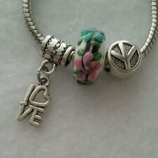 Peace Love Dangle Charm & Murano Glass Bead Spacer For European Style Bracelet