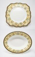 Wedgwood India England Bone China Bowl Dish Plate Gold Rim Florals Blue Yellow