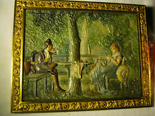 Antique Victorian Bradley Hubbard Park Cast Iron Garden Wall Art Plaque Charger