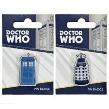 New Doctor Who TARDIS & Dalek Metal Pin Badge BBC Lapel Brooch Official