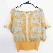 Free People Paisley Lace Panel Dolman Batwing Top Size 6 M