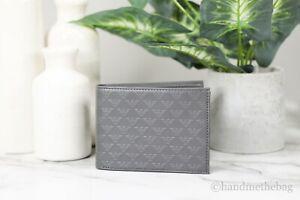 Emporio Armani Embossed PVC All Over Monogram Bifold Dark Grey Organizer Wallet