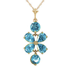 3.15 Carat 14K Solid Yellow Gold Passione Blue Topaz Necklace 18 Inch