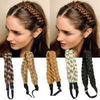 Woman Braided Plaited Twist Hair Band Bohemian Styling Wig Princess Headband-RO