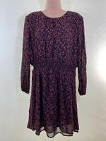 NEXT black & red animal leopard print chiffon long sleeve tea dress size 12 40
