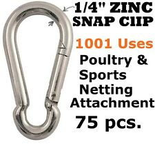 "75 PCS 1/4"" ZINC CARABINER SNAP CLIPS SPORTS NETTING BASEBALL BATTING CAGE GOLF"