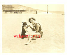 Vintage Joan Crawford EARLY 30s SWIMSUIT ON BEACH WITH DOG Publicity Portrait