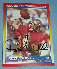 Peter Tom Willis Signed 1990 Score Football Rookie Card 656 RC Florida State FSU