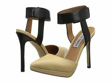 NEW STEVE MADDEN MAGIE PLATFORM Nude Black Strap Classic Heels Pump Shoes 8.5