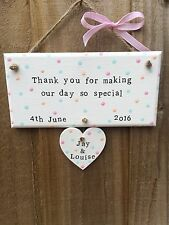 Personalizzata in legno Targa Sign Heart Wedding grazie Regalo Chic