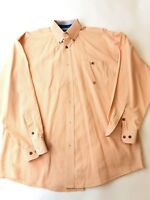 Wrangler Twenty X Western Mens L Orange Plaid Long Sleeve Shirt Cowboy Rodeo