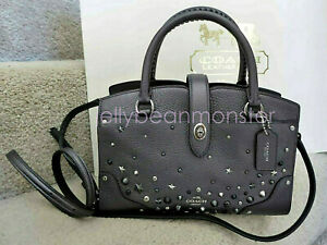 COACH 59146 MERCER STAR RIVETS METALLIC LEATHER SATCHEL 24 CROSSBODY Graphite