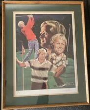 Framed Jack Nicklaus Golf Lithograph by Angelo Marino- Signed & Numbered