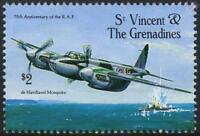 RAF de Havilland MOSQUITO DH.98 WWII Aircraft Stamp (1993 St Vincent & Gren.)