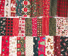 CHRISTMAS FABRIC PATCHWORK QUILTING CRAFTS REMNANTS 100% COTTON LARGE SQUARES