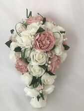 Wedding bouquets flowers ivory rose peony posy brides wands buttonholes pink