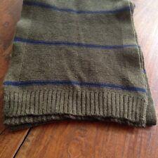 GAP Cotton Blend Khaki Green Blue Stripe Knit Scarf