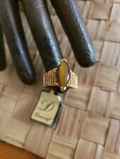 VINTAGE DANECRAFT STERLING SILVER VERMEIL TIGERS EYE RING SIZE 7 NEW OLD STOCK