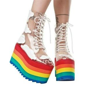 Womens New Transparent Lace Up Rainbow Platform Combat Boots Shoes Creepers new