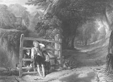 POOR CHILDREN FARM KIDS PLAY by GATE IN FOREST ~ Old 1865 Art Print Engraving