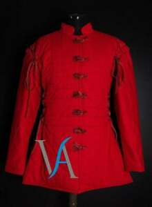 Medieval Red Color Gambeson Full Sleeves renaissance SCA Larp
