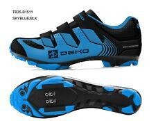 Scarpe ciclismo mountain bike mtb blu cielo/nero tre strappi per tacchette Spd