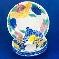 """Dansk TUSCANY COLLECTION Red Blue Yellow Fruit Soup Salad Pasta 9.5"""" Bowls Set 4"""