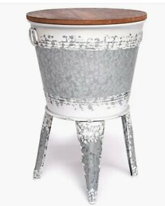 Farmhouse Accent Side Table Galvanized Rustic End Table. Metal Storage Bin Wood