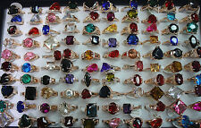 New Job Lots 25pcs cubic Zircon rose Gold P Multicolor Noble Lady rings Jewelrry