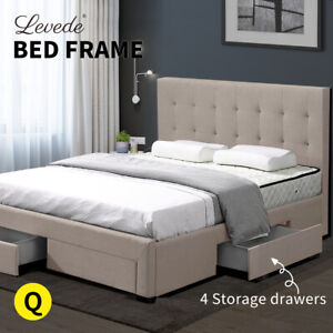 Levede Bed Frame Queen Fabric With Drawers Storage Wooden Mattress Beige