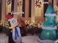 NEW 6 FT TALL CHRISTMAS AIRBLOWN INFLATABLE GEMMY yard decor 2 PC PENGUIN TREE